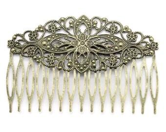 2 pcs Hair Comb,,Antique Bronze ,Flower Hair Comb , wedding hair comb, bridal hair comb, brass hair comb, flower hair comb, flower hair comb