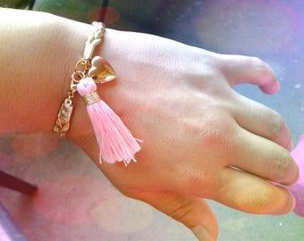 Gold Braided Bracelet Gold Heart Locket Pink Tassle Charm Bracelet Gold Braid Bracelet Gold Bracelet Locket Charm Bracelet Women's Bracelet