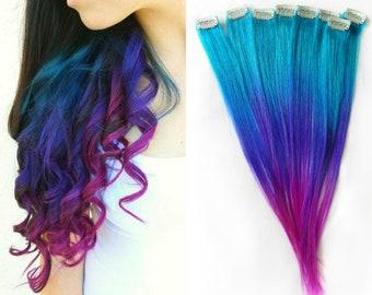 Galaxy Ombre Hair, Galaxy Extensions, Human Hair Extensions, Mermaid Hair, Mermaid Extensions, Festival Peakaboo Hair, Festival Extensions