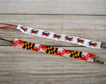Pacifier Clip, Paci Clip, Binky Clip, Teether Clip,  MD Flag, MD Crab