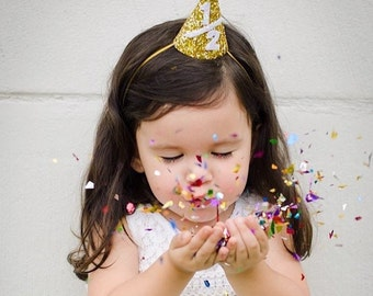 First Birthday Party Hat || Gold Glitter Party Hat || 1st Birthday Party Hat || Cake Smash Photo Prop || 1/2 Birthday Party Hat