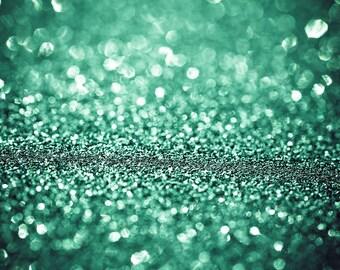 Emerald Green Bokeh Abstract Art Mint Green Sparkles Dreamy Surreal Blurred,  Fine Art Print