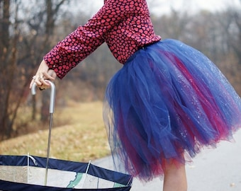 Chic Mode Layered Tulle Skirt - Sewn Tutu - Half poof mid length ballet style skirt - Made to order in your choice of colors
