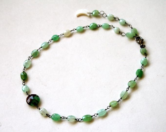 Australian Chrysoprase Choker Sterling Silver Necklace