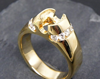 Heavy 14K yellow gold diamond (.80carats) ring mounting or semi mount. 9x7mm 10x8mm 11x9mm Center stones MMM