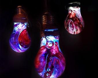 Hand painted light bulb Mr. OctopusDesign/Handmade octopus lamp painted/HOMEDECOR/lamp design/octopus lamp/Contemporary Art
