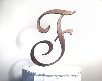 Wooden Wedding Cake Topper: Letter F, Monogram Cake Topper, Rustic Cake Topper, Handmade Cake Topper