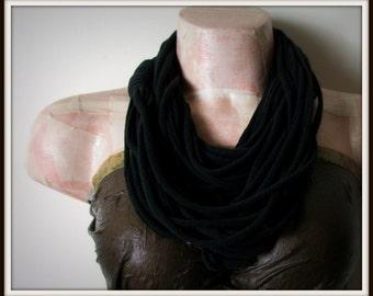 SALE Black Infinity Multi Strand T shirt Jersey Scarf