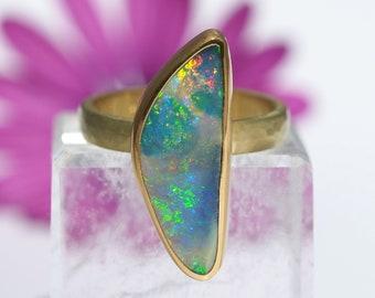 Gold Opal Ring - 18K and 22K Gold Australian Boulder Opal Ring - Solid Gold Opal ring - Opal Promise Ring - size 7.25 - US size 7 1/4