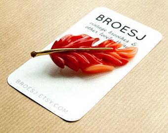 Red Leaf Brosche Pin Vintage Herbst Gold
