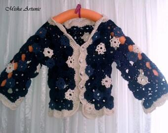 Jacket crocheted flowers - Flowers