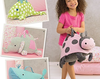 Simplicity Stuffed Animal Bags Elephant, Frog, Whale and Ladybug. Simplicity 1084.  Pattern is new and uncut.