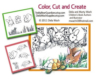 Bunny and Turtle - Color, Cut, and Create - Printable PDF