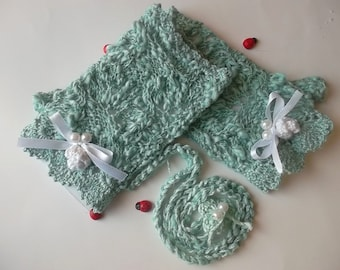 Girl Cotton Gloves plus Headband Crocheted Ready To Ship Victorian Fingerless Summer Children Lace Evening Hand Knitted Green Corset CB4