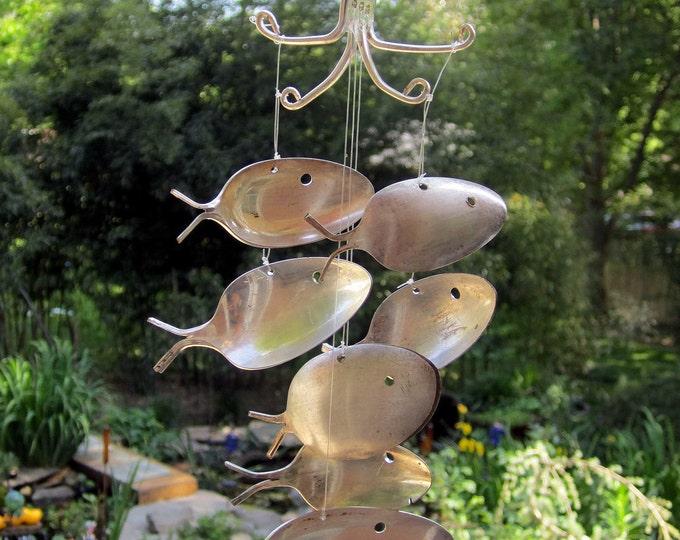 Back To School Special Large Antique Silver Spoon Fish Windchime, Rustic Rusty Metal Art, Lake Cabin Charm, House Boat Dock, Teachers Gifts