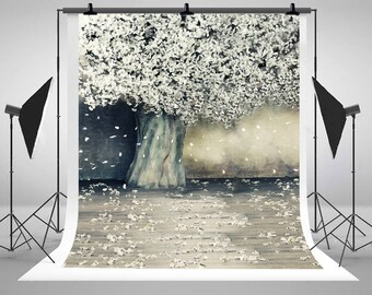 White Cherry Blossom Flower Tree Photography Backdrops Indoor Photo Backgrounds for Wedding Studio Props