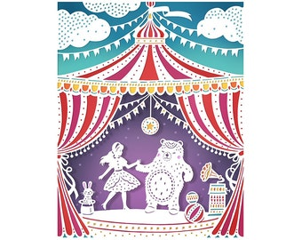 Circus Party - 5x7 Print - Original Papercut Illustration - Fine Art Print