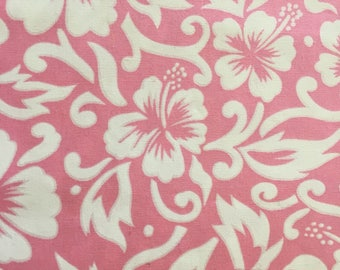 Hawaiian fabric, pale pink with white hibiscus, fat quarter