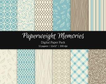 "Digital patterned paper - Friends Forever Ocean Blue -  digital scrapbooking - patterned paper - 12x12"" 300dpi  - Commercial Use"