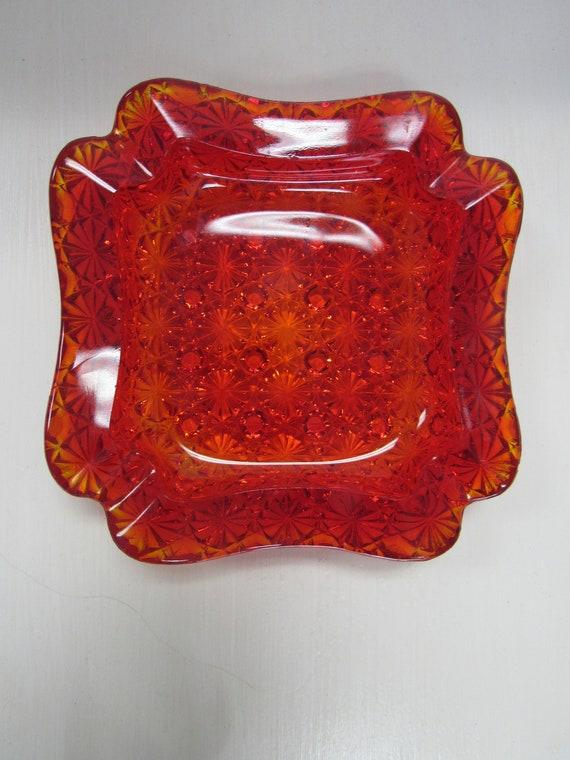 Red art glass ashtray