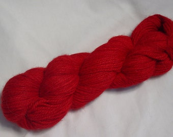 Hand Dyed Alpaca Yarn in Red - Sport Wt 250 yds