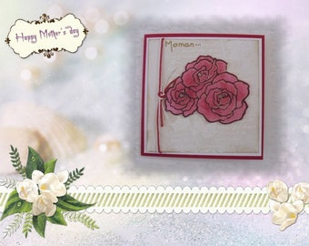 Bouquet of roses on pictorial writing
