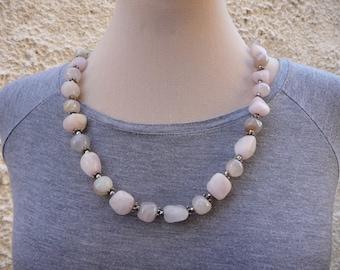 Pink Quartz Necklace, Stone Pink, Glass Bead Necklace, Rose Quartz Necklace, Beaded Gemstone Necklace, Bead