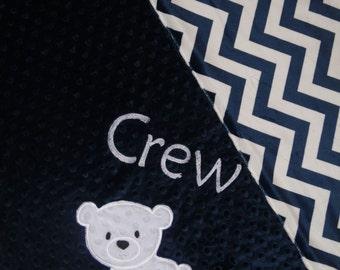 Polar Bear Blanket- Personalized Minky Baby Blanket - Navy Chevron Minky - Embroidered Polar Bear
