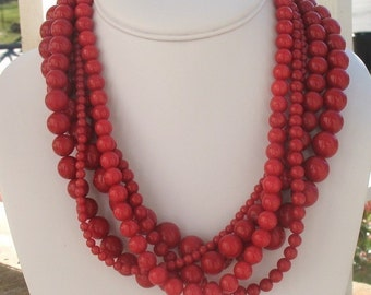 Red Necklace, Red Jewelry, Red Statement Necklace, Bold Red Necklace, Red Large Beads, Chunky Necklace, Gifts for Her, Holiday Jewelry