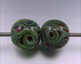 INNER DEPTH – Green and Red Bead Earring Pair – Lampwork bead earring pair Handmade Jewelry Supplies - by Stephanie Gough sra fhfteam leteam