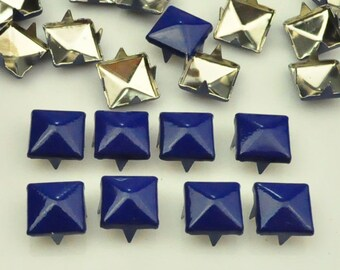 100 pcs. Electric Blue Pyramid Studs Rivets Biker Spikes spots nailheads Decorations Findings 9 mm  with 4 claws Rivets DIY accessories.
