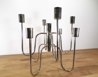 2 silver metal - 2 chrome candlesticks candle holders