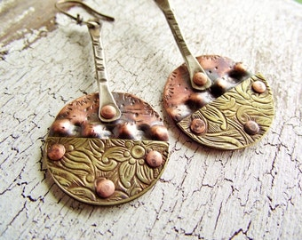 Mixed Metal Earrings, Brass and Copper, Dangle Earrings in sterling silver