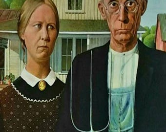 Grant Wood American Gothic 1930 Original Lithograph 1st Edition