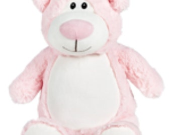 Stuffed animal, teddy bear, pink, baby gift, toddler present, Easter present