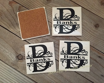 Personalized Coasters, Tile Coasters, Housewarming Gift, Wedding Gifts, Anniversary Gifts, Monogrammed Coasters, Wedding Gift, Christmas