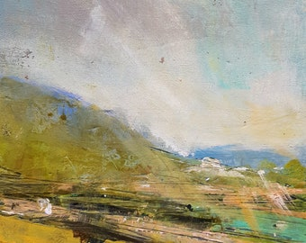 Abstract Landscape Study F1,  Original mixed media painting on Foam board.