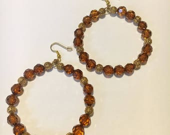 Coffee Brown and Gold Bead Hoops