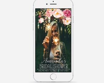 Floral Bridal Shower Snapchat Geofilter, Custom Bridal Shower Filter, Floral Boho Snapchat Filter, Bridal Shower Geofilter, Bridal Snapchat