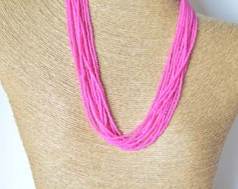 Hot Pink necklace, seed bead necklace,fuchsia necklace, neon pink necklace, beaded necklace,wedding jewelry, bridesmaid gift, bridesmaid