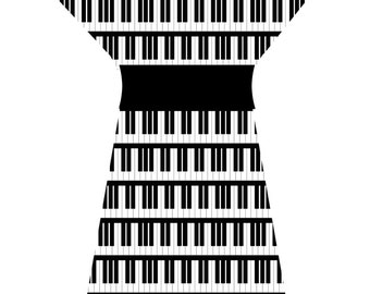 PIANO DRESS (handmade & custom printed fabric)