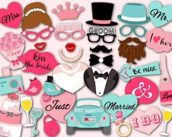 Printable Wedding Party Photo Booth Props, Wedding Photobooth Props, Instant Download Wedding Photo Booth Props, Wedding Party Props 0024