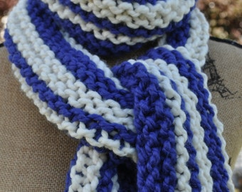 Striped Chunky Scarf - Mens Long Scarf - Womens Knit Wool Winter Neckwarmer - Teen Scarf Warm - Trendy - Fashion - Cobalt Blue - Ivory White