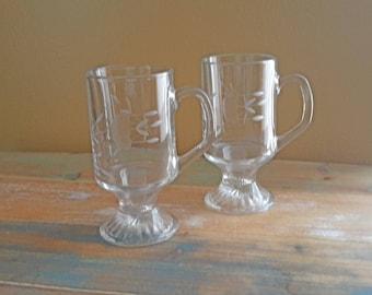 Princess House Heritage Footed Irish Coffee Mugs Vintage