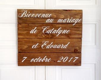 panneau en bois, décoration murale personnalisable, décoration mariage, panneau mariage, tableau bois