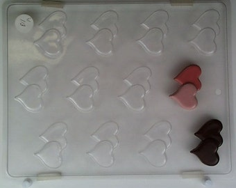 Flat intersecting hearts, mint V113 Chocolate Candy Mold