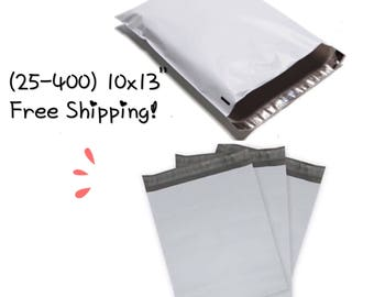 """FREE SHIPPING! (25-400 Pack)  10x13"""" White Poly Mailers"""