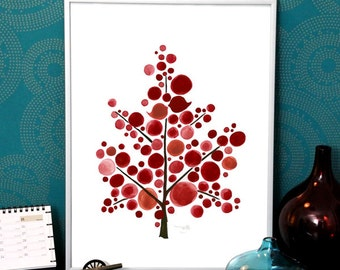 Christmas Gift wall art print - Giclee Art Print Reproduction of Watercolor Painting - Scandinavian Red Tree - Trees of Life Collection