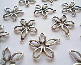 """Five Petal Flower Pendants / Links - Antique Silver -  7/8"""""""