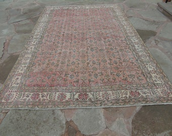 Oushak Rug, Vintage Oushak Rugs, Turkish Oushak Rugs, Pale Melon Red Colored Turkish Rug, Area Rug, Vintage Rug, Bed Room rug, 6'7 x 10'2